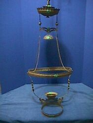 ANTIQUE Victorian HANGING Oil Lamp ORNATE Brass LIBRARY Ceiling PARTS 19F $149.00