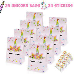 Unicorn Party Favor Gift Bags – 24 Pack – Fun Princess Party Treat Goodie Candy $12.99