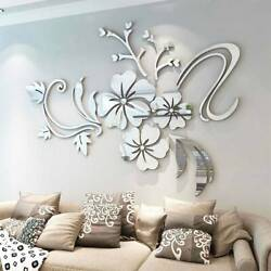 Removable Wall Stickers 3D Mirror Flower Art Mural Decal Living Room Home Decor. $8.89