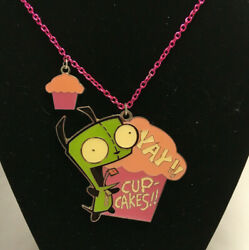 Nickelodeon Invader Zim Gir quot;Yay Cupcakes quot; Enamel 21quot; Necklace Pendent $19.95