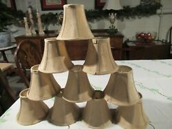 Chandelier Mini Lamp Shades5quot; Bell Taupe w Double Trim Set of 10 $35.00