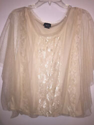 Rue 21 Juniors Womens Ivory Sheer Lace Boho Top Size XL Lined Sheer sleeves $4.99