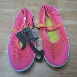 Girls Beach Shoes Fluorescent Pink Size 13 Free Shipping $9.99