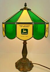 JOHN DEERE TRACTOR LAMP STAINED GLASS from 1980#x27;s 3 CENTURIES of PROGRESS $599.99