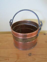 VINTAGE COPPER PAIL RIVETS WITH BRASS BAND AND HANDLE $39.99