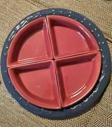 Home amp; Garden Party Red Burgundy Blue collection Serving Platter w serving $28.99