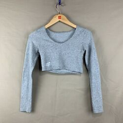 Jed North Womens XS Heather Gray Long Sleeve Scoop Neck Athletic Cropped Top $8.99