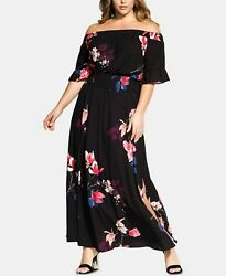 City Chic Trendy Plus Size Printed Off The Shoulder Maxi Dress S 16W $34.99