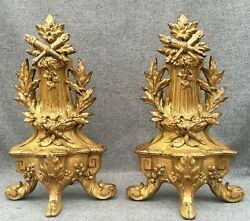 Antique pair of french Louis XVI style andirons 19th century gilded bronze 6lb $299.00
