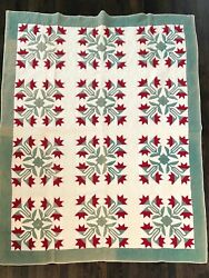 Antique Red and Green Tulips Applique Quilt $425.00