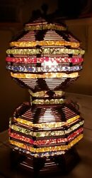 VINTAGE PRISON ART LAMP CRAFTED WITH POPSICLE STICKS amp; COLORFUL MARBLES WORKS $136.80