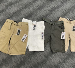 Men's Cargo Shorts Casual Cotton Twill Multi Pockets Lightweight Outdoor belted $14.99