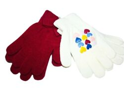 Carter#x27;s Toddler Girl#x27;s 2 Pack Winter White Red Purple Gloves Fox Stripes Hearts $12.00