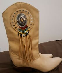 Gently Used Light Beige Ladies Zodiac Boots Size 8M and Decorative