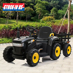 12V Kids Ride On Car Toy Tractor W Trailer Powered Battery Vehicle Toy w Music $129.99