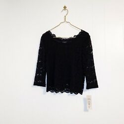 Harris Wallace Black Petite Large Lace Lined Blouse Long Sleeve Sheer Scalloped $22.99