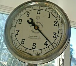 ANTIQUE HANGING SACALE 1912 pat. white porclaintray 30lbcharles Horchner amp;sons $185.00