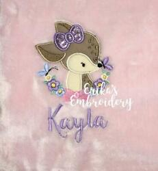 Personalized Embroidered Baby Deer Fawn Girl Blanket Baby Shower Gift $34.99