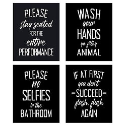 4pcs pack Picture Canvas Painting Bathroom Decor Wall Art Accessory Funny Signs $12.04