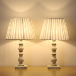 17.7quot; Height Bedside Table Lamps Traditional Table Lamps Set of 2 Wood Base $34.30