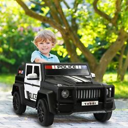 12V Electric Police Kids Ride On Car Toy SUV Truck w Lights Remote Control Black $123.99