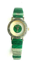 Malachite Watch Vintage For Parts Or Repair Stainless Steel $7.99