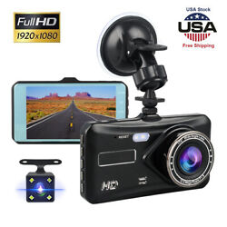 4quot; Touch Screen Car Camera Dual Dash Cam Front amp; Rear Night Vision G sensor 170° $29.43