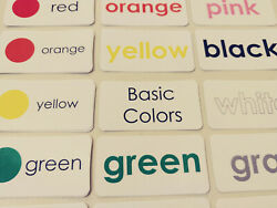 22 Laminated Basic Colors Preschool Flashcards. Educational Word Wall Cards for $2.95