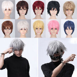 100% Cool Men Boy Short Straight Hair Wig Multi Color Party Cosplay Full Wigs @# $13.31