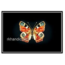 Beautiful Marble Wall Scenery Butterfly Design Side Table with Carnelian Stone $275.00