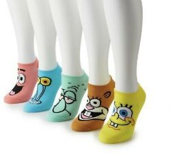 Nickelodeon Womens Socks NEW Spongebob 5 Pairs Nick Toons No Show Squarepants $7.99