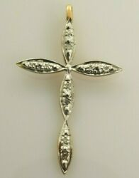 Diamond Cross in 10k Yellow and White Gold .05 Carats $112.23