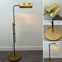 "Vintage Adjustable Height Gold Brass Floor Lamp Pharmacy Reading Light 32"" 50"" $189.00"