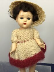 """7.5"""" Vintage 1956 Miss Rosebud Made In England Adorable W Extra Dress #O7 $79.95"""