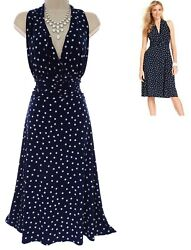 18W 2X SEXY Womens NAVY POLKA DOT RUCHED WAIST MIDI DRESS Summer Party PLUS SIZE $49.99