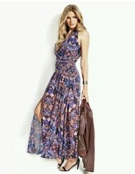 NEW GUESS BY MARCIANO Rhapsody Maxi Long Chiffon Summer Floral Dress XS S