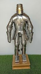 Medieval Knight Templar Mini Suit of Armour Silver Finish with Stand Wooden Base $261.25