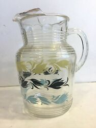 Vintage Glass Pitcher with Ice Lip Yellow Black Blue Design $14.99