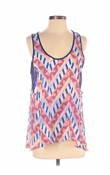 Lush Small Tank Top Sheer Geometric Cut Outs Loose Flowy Blue Peach Pullover $9.99