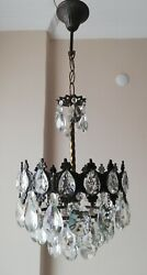 French Basket Style Vintage Brass amp; Crystals Chandelier Antique Lamp quot;213 02quot; $355.00