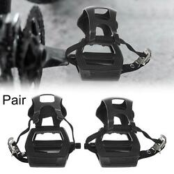Pair Road Bike Pedals 9 16quot; Spindle Platform with Toe Clips Fixed Foot Strap $23.49