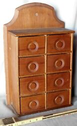 Antique hanging spice chest wall box poplar 19th c. carved knobs rack cupboard $93.00