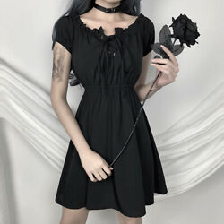 Gothic Sexy Off Shoulder Black Dresses Gothic Harajuku High Waist Summer Dresses