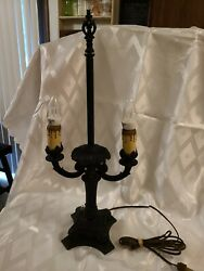 Vintage Black Cast Iron Victorian Table Dual Lamp Candelabra Style $135.00