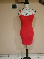 Bebe Rouched Red Mini Dress Size M $28.00