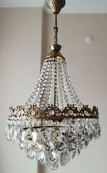 French Basket Style Vintage Brass amp; Crystals Chandelier Antique Lamp quot;213 05quot; $425.00