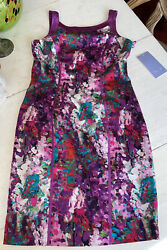 NWT Theia Couture Womens Sheath Dress Purple Floral Party Cocktail 12 MSRP $450 $125.00