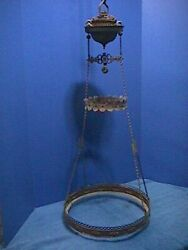ANTIQUE Victorian HANGING Oil Lamp ORNATE Brass LIBRARY Ceiling PARTS 15F $99.00