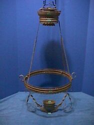ANTIQUE Victorian HANGING Oil Lamp ORNATE Brass LIBRARY Ceiling PARTS 25F $99.00