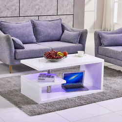 High Gloss Rectangular Coffee Table Living Room Furniture Modern LED Lights Set $89.99